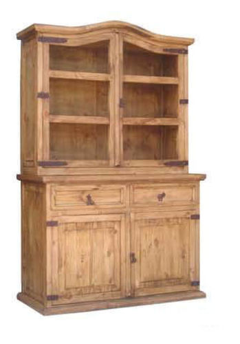 Rustic small pc china cabinet western solid real wood