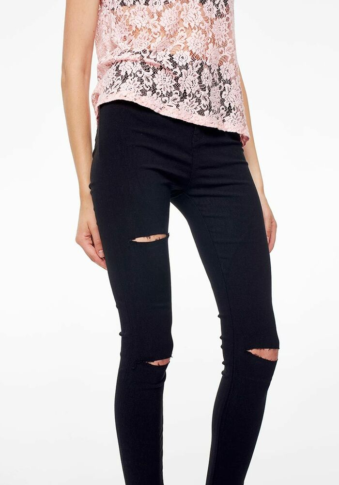 Ladies Skinny High Waisted Knee Ripped Cut Out Jeggings Jeans ...