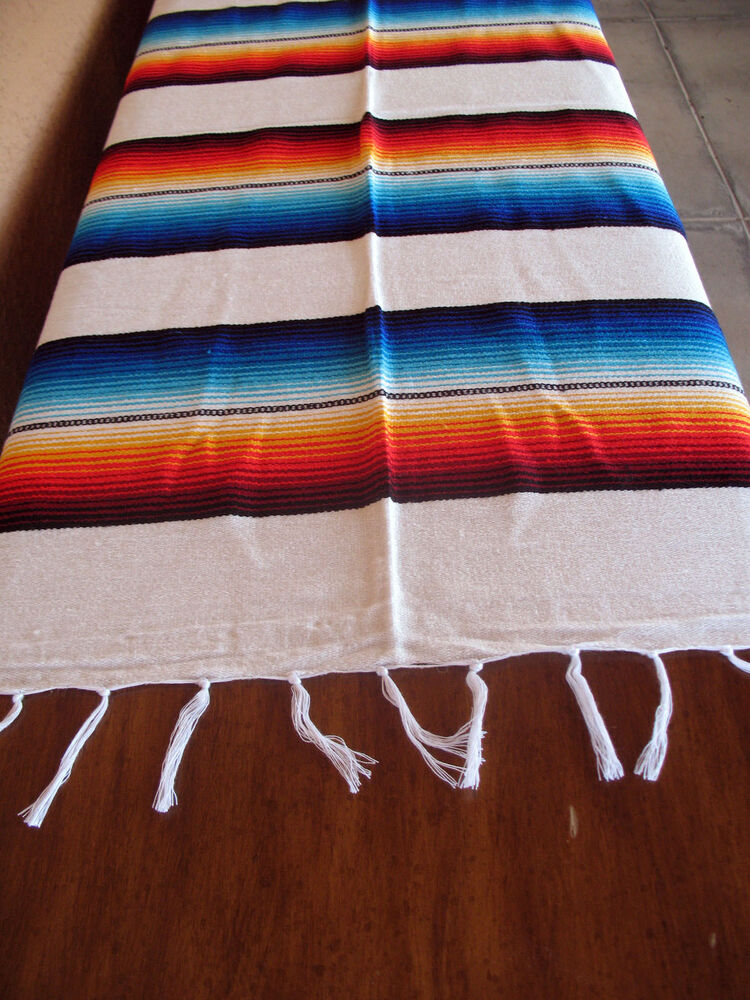 serape onws white blanket table cover seat cover throw mexican design 5 39 x 7 39 ebay. Black Bedroom Furniture Sets. Home Design Ideas
