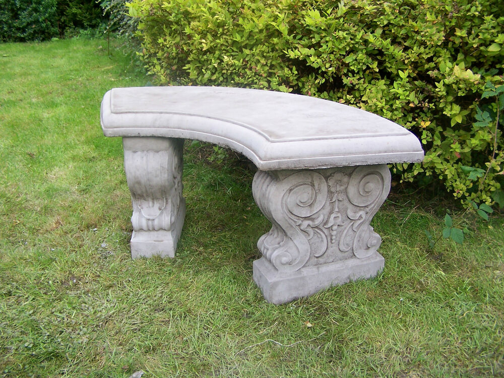 Large Curved Garden Bench Hand Cast Stone Garden Ornament