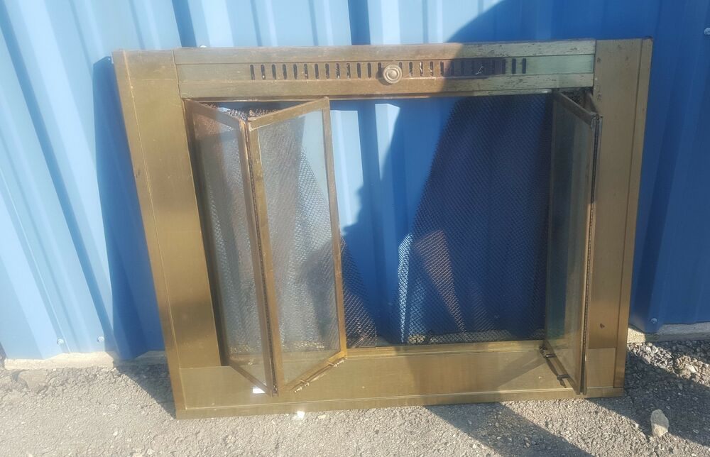 Vtg Brass Fireplace Screen Glass Accordion Bifold Door Ebay