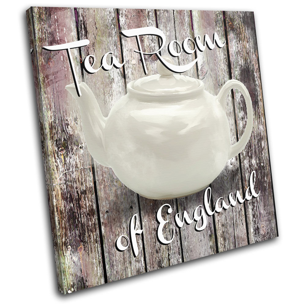 Shabby chic tea pot vintage single canvas wall art picture for Shabby chic wall art