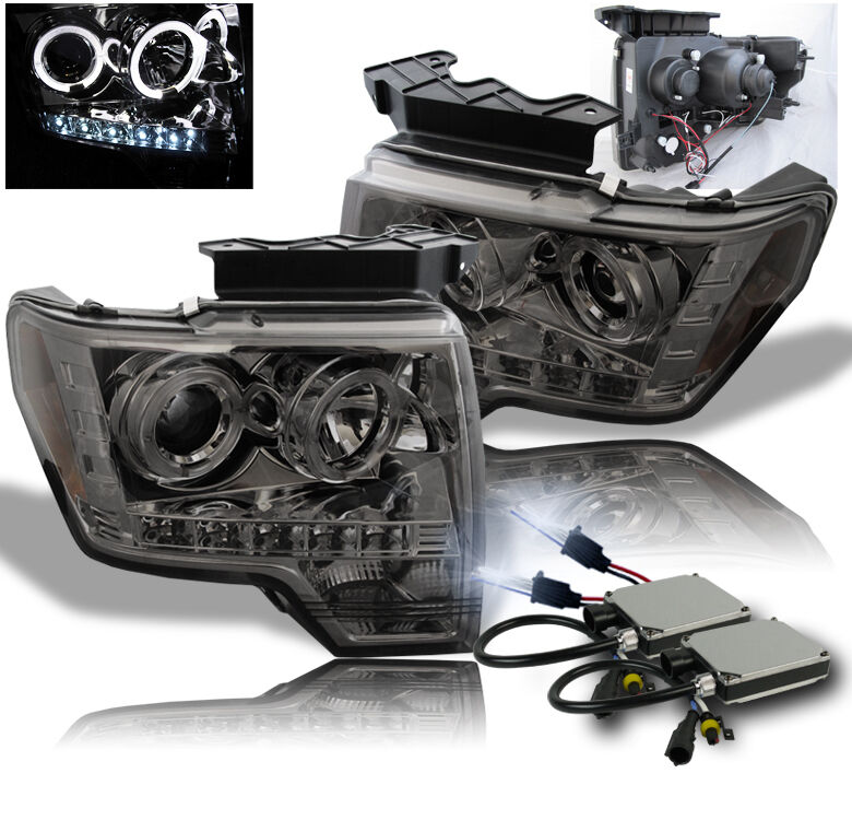 Hid Lamp For Car >> 2009-2014 FORD F-150 SMOKE PROJECTOR HALO LED DRL HEADLIGHT W/8000K HID LAMP SET | eBay