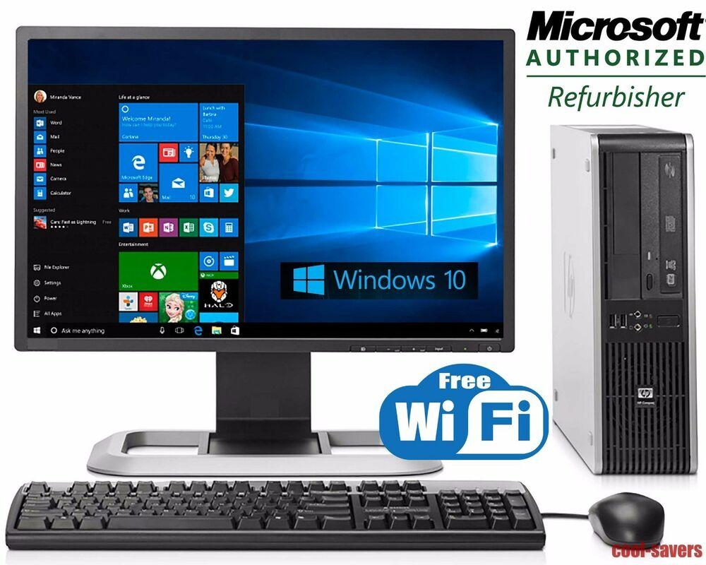 Hp desktop pc computer windows 10 core 2 duo 19 monitor for Windows 10 pc
