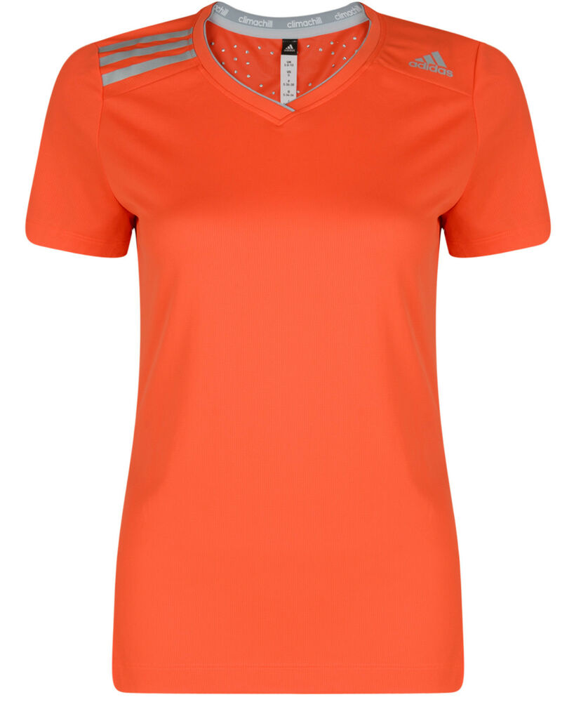 New adidas climachill running top t shirt orange for Best fitness t shirts