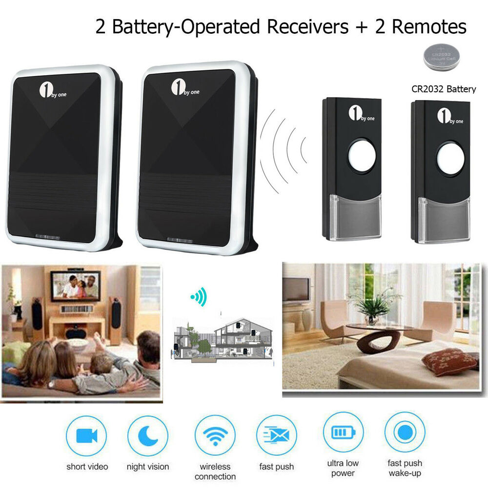 2 x wireless digital door bell chime waterproof remote for 100 doors 2 door 36