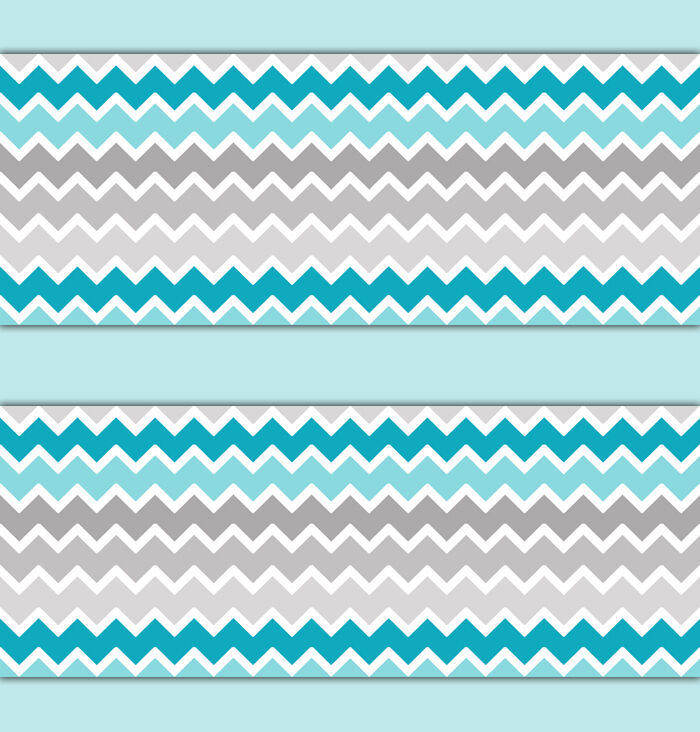 Turquoise Teal Blue Grey Gray Ombre Chevron Wallpaper
