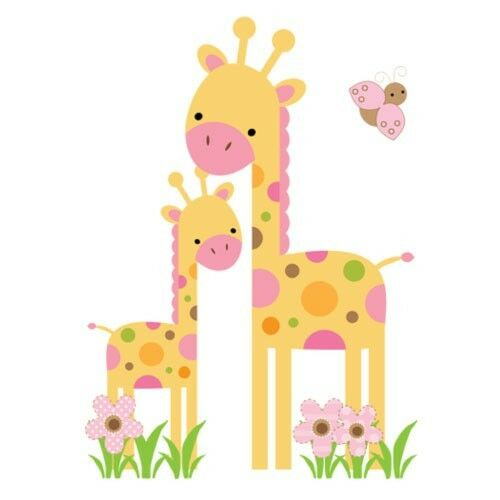 Mod safari giraffe wall art mural decal baby girl jungle for Baby girl nursery mural
