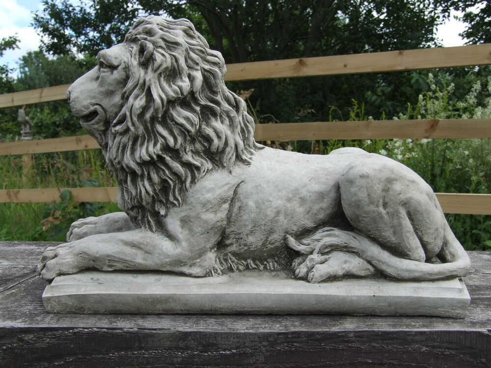 Granite Lawn Ornaments : Lion statue on plinth cast stone garden ornament patio