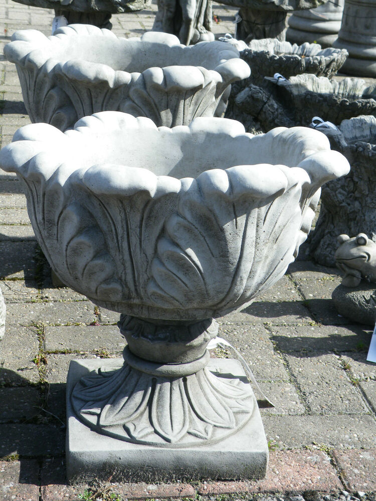 Large tulip vase urn hand cast stone flower planter garden for Flower garden ornaments