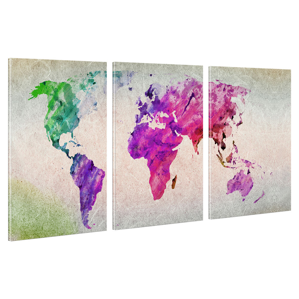 Hd Canvas Prints Home Decor Wall Art Painting Colorful World Map Unframed L40 Ebay