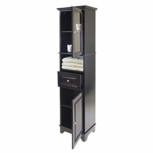 Black Linen Cabinet Storage Tower Tall Bathroom Laundry Shelves Furniture Towel
