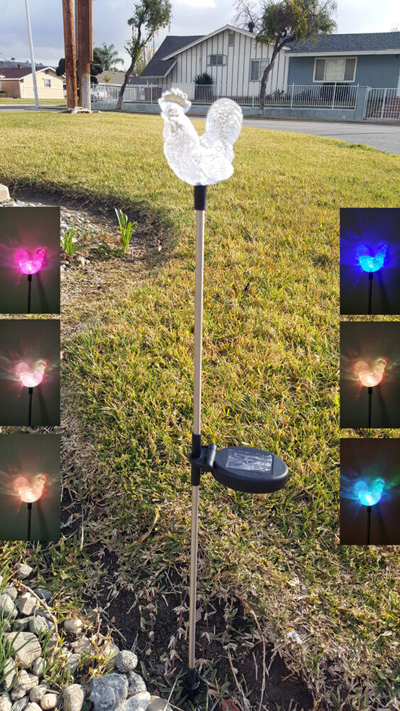 Tractor Garden Stakes : Solar rooster clear acrylic yard stick color change light