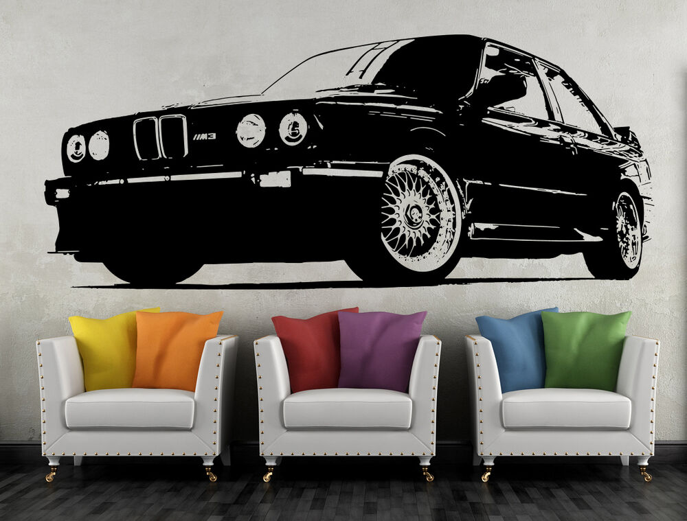 wandtattoo bmw m3 e30 sportwagen wandbild auto deko aufkleber wand tattoo ebay. Black Bedroom Furniture Sets. Home Design Ideas