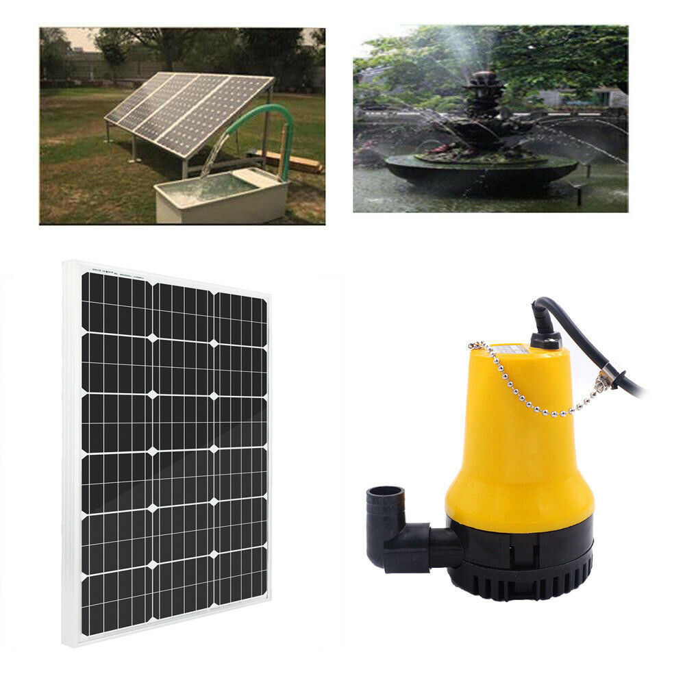 Solar power pond water pump with 100 watt 100w 12v solar for Solar water pump pond