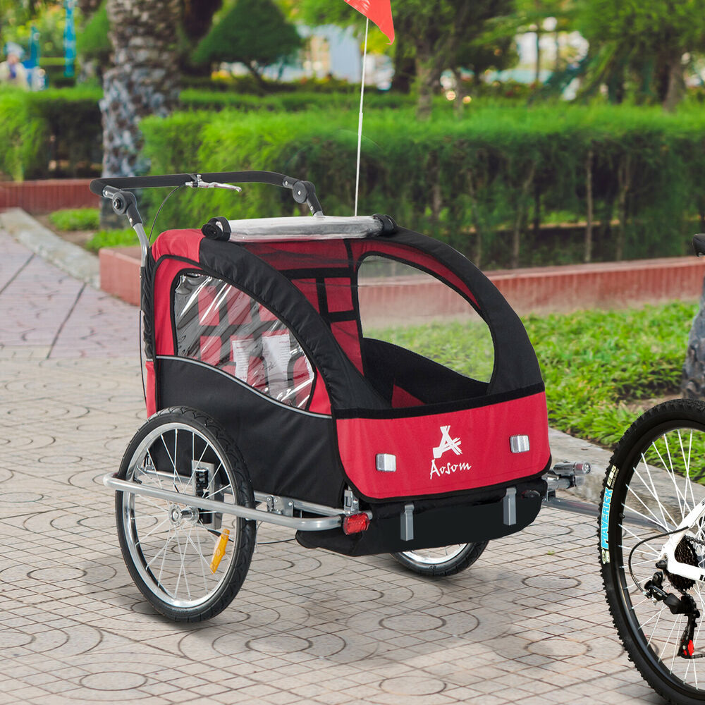 Aosom 3in1 Double Baby Bike Trailer Child Bicycle Stroller