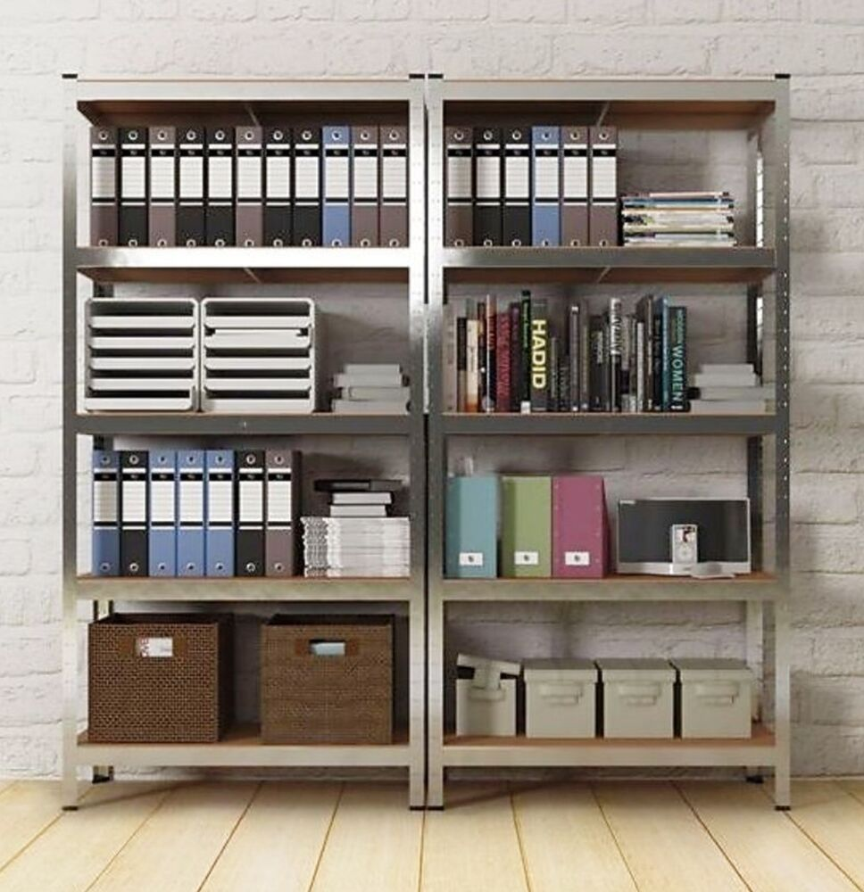metal rack tower unit sturdy strong open shelves bookcase