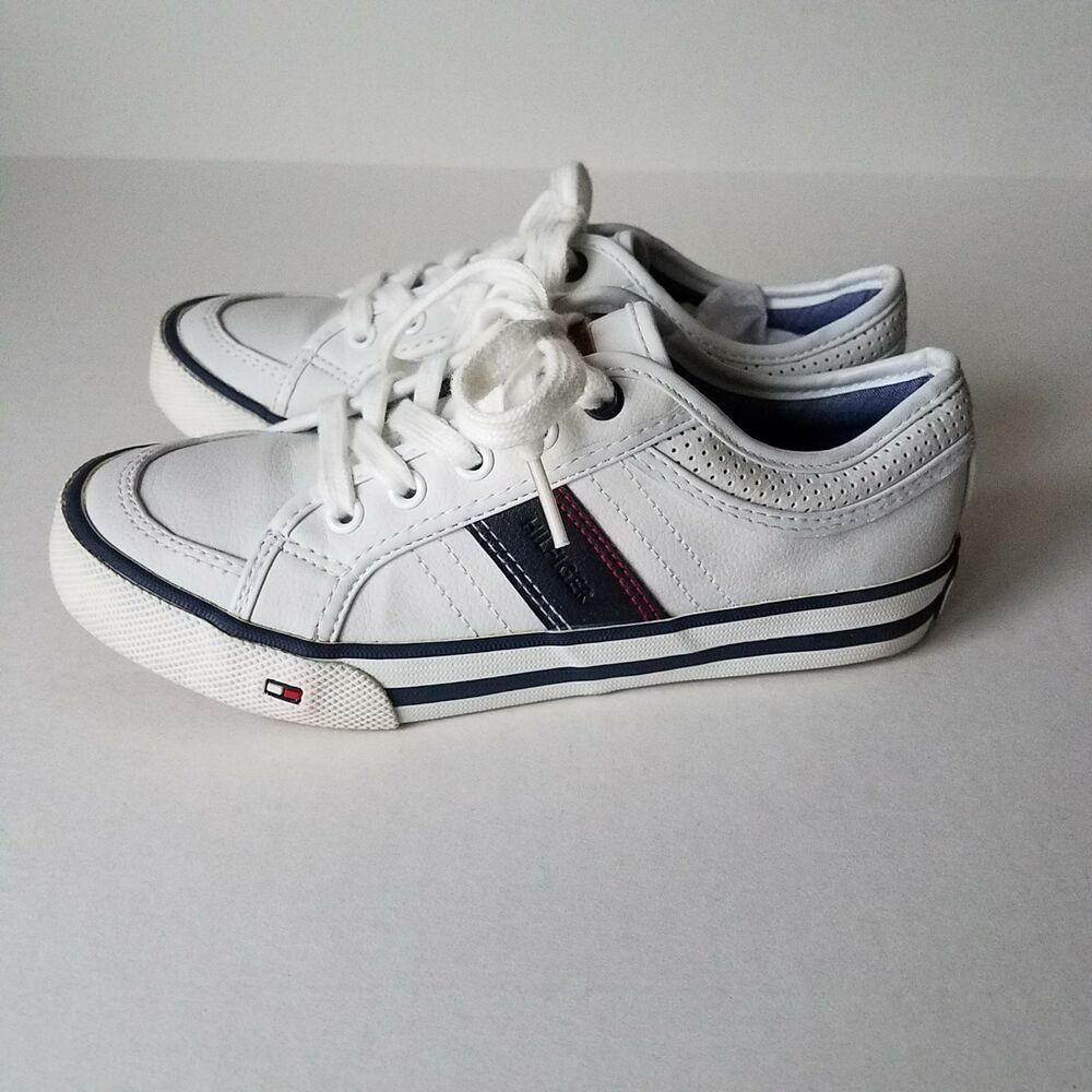 0257e7802 Details about Tommy Hilfiger Dennis Retro Lace Up Youth Sneaker Skate Shoe  White Sz. 1
