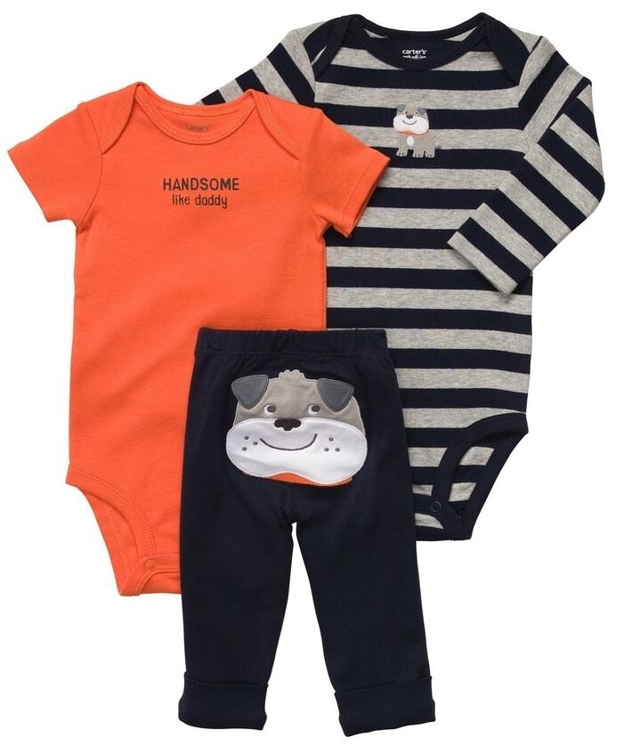Children Boy Clothing Sets Handsome Child Boys Clothes 3: New NWT Carters Baby Boys 3 Piece Bodysuit Set Clothes 12