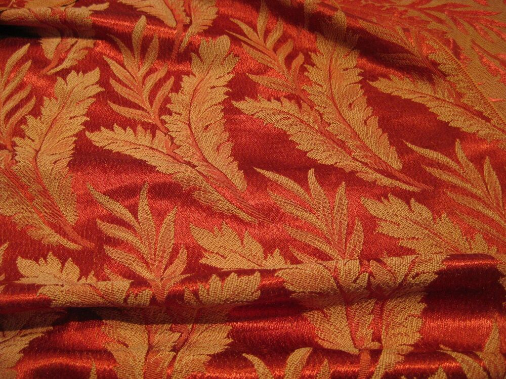 VINTAGE GLAM ROSY RED BROCADE FABRIC FERN LEAVES