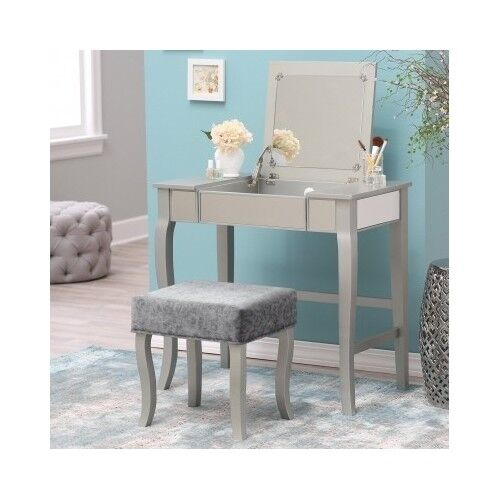 Modern Vanity Desk Mirror Makeup Table Amp Stool Set Silver