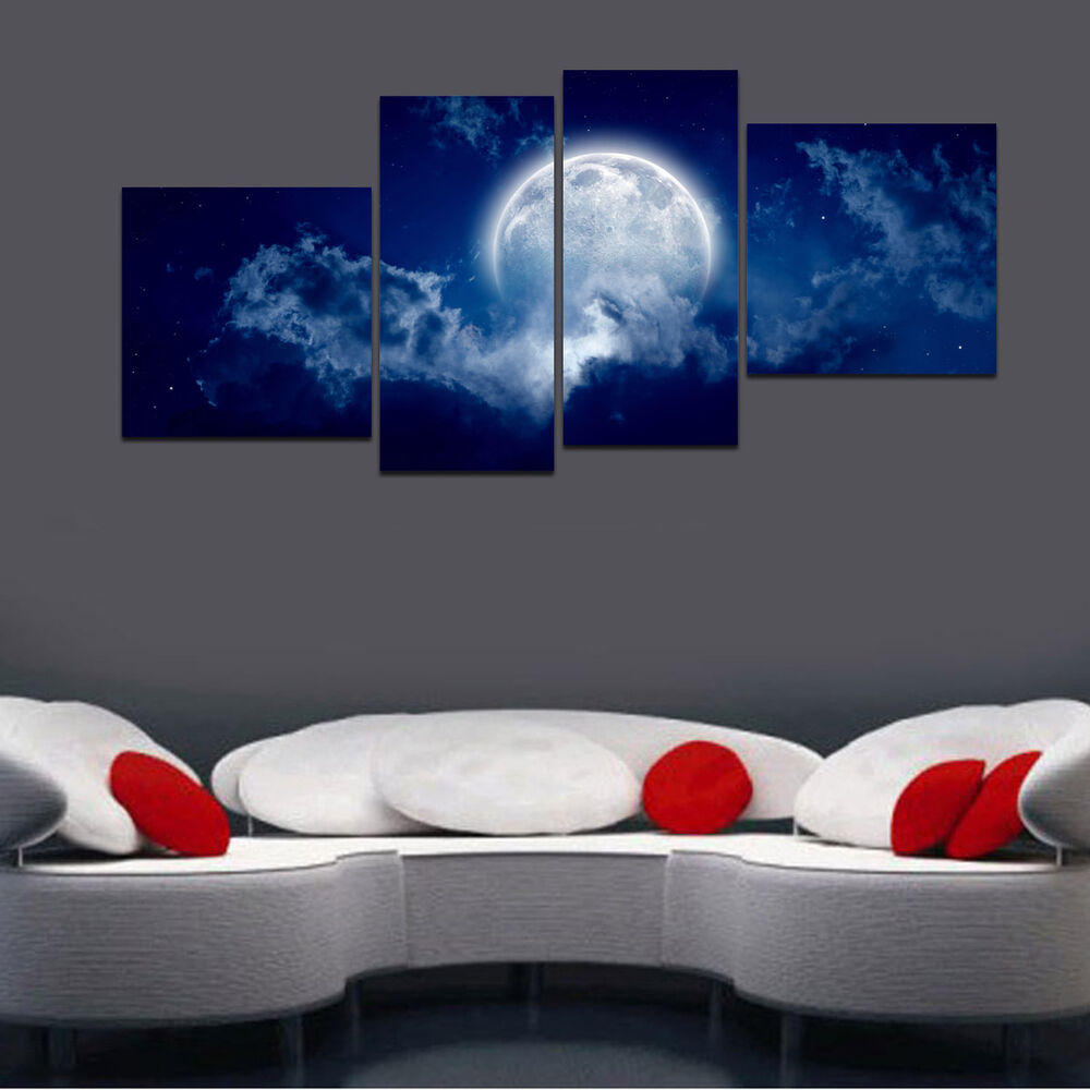 Hd Canvas Print Home Decor Wall Art Painting Picture Night Sky Moon Unframed L28 Ebay