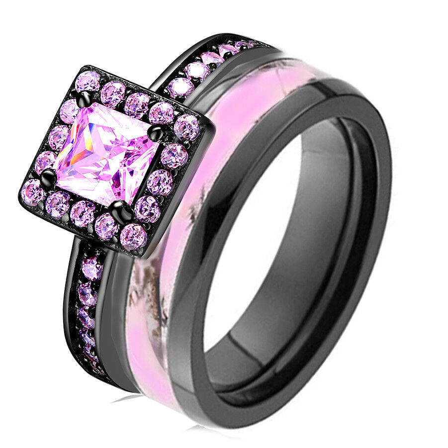 Pink camo black 925 sterling silver titanium engagement for Wedding rings with pink