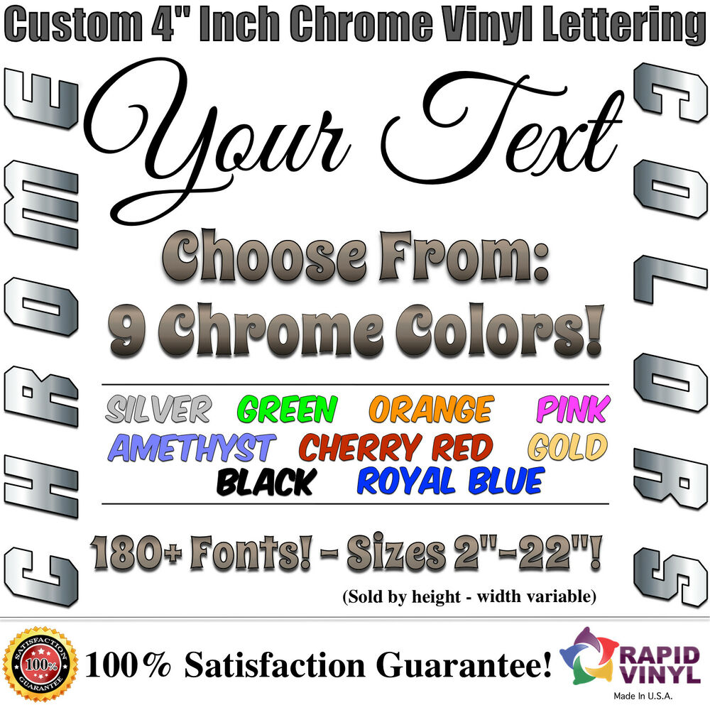 4 custom chrome lettering decal sticker vinyl boat for Window cling letters and numbers