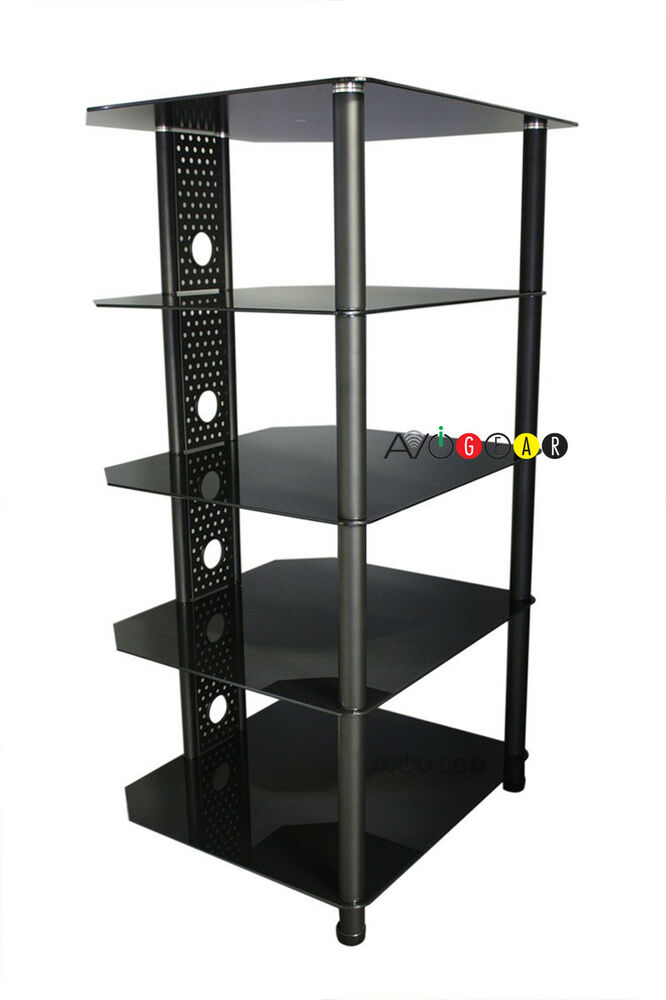 iq hifi steel audio video equipment rack stand 5 glass shelves ebay. Black Bedroom Furniture Sets. Home Design Ideas