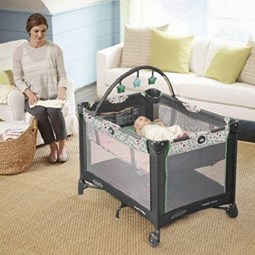 portable playpen graco playard folding travel mini crib w mobile neutral baby ebay. Black Bedroom Furniture Sets. Home Design Ideas