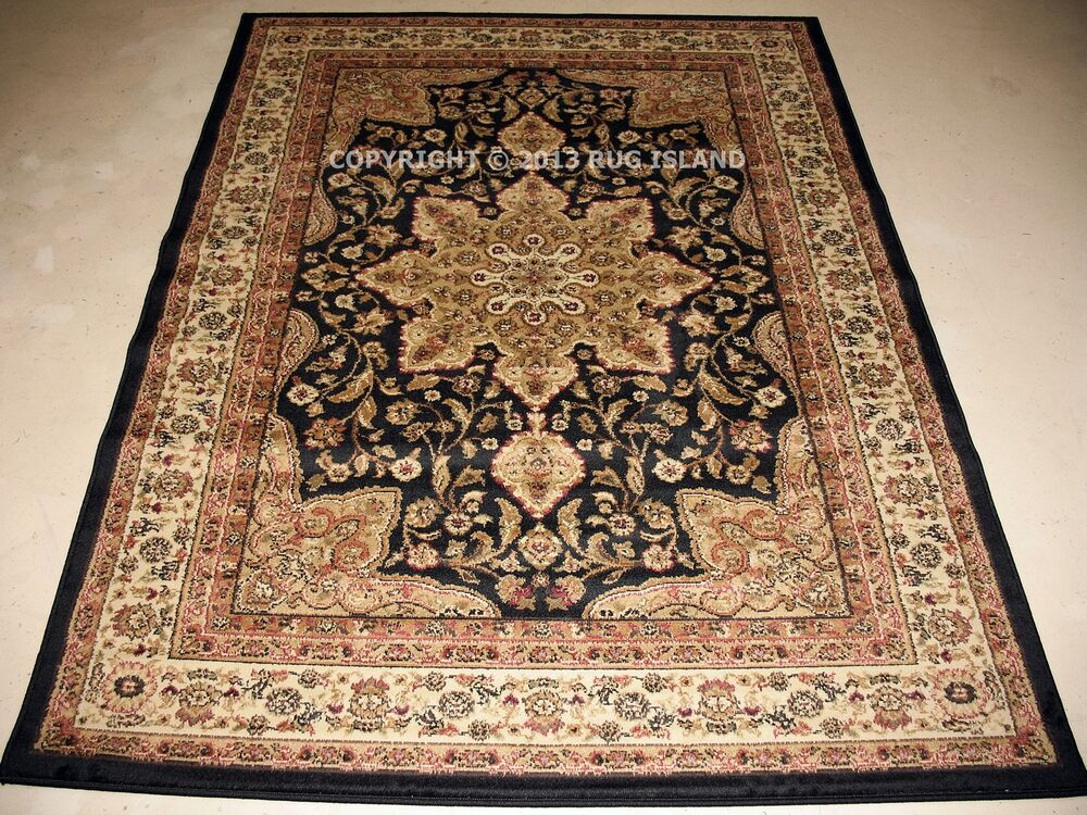 Sale 5x7 traditional oriental persian black gold red for Red and gold area rugs