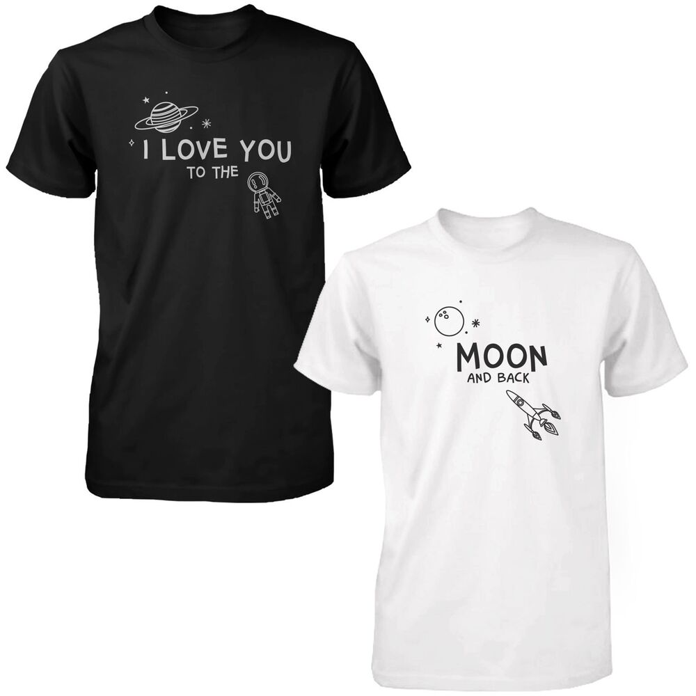 I Love You To The Moon And Back Cute Couple Shirts Black And White