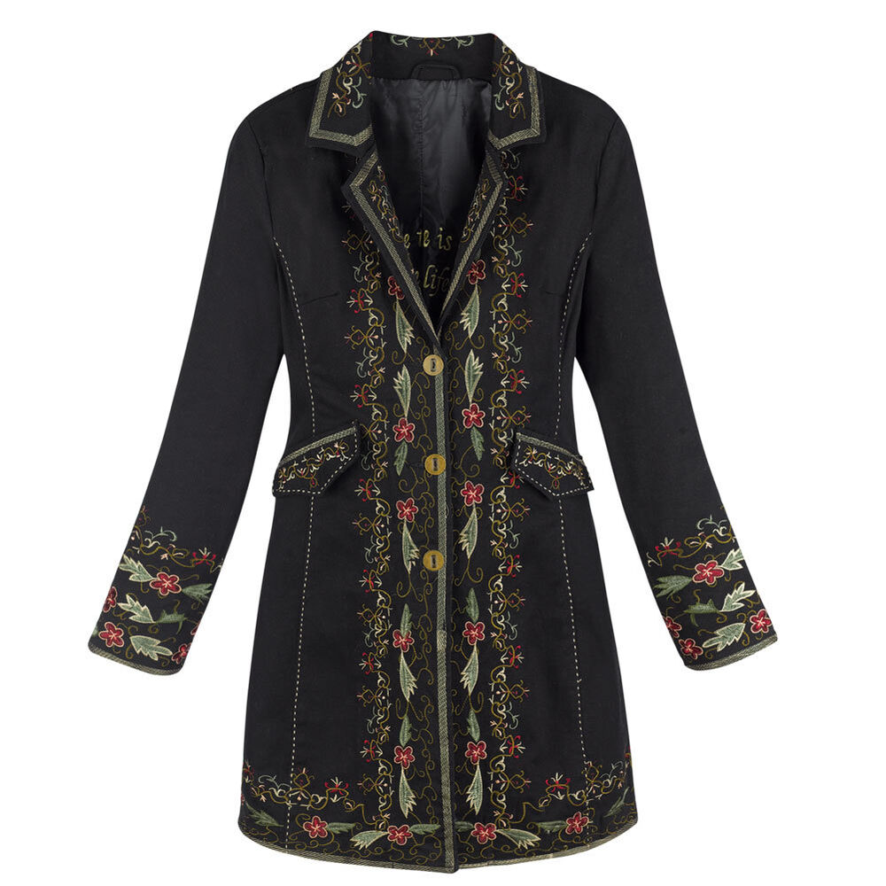 Vienna Embroidered Knee Length Brushed Twill Jacket ...