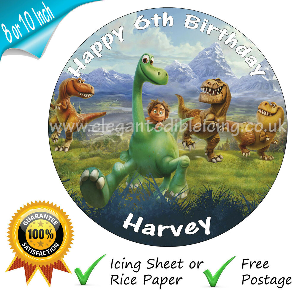 THE GOOD DINOSAUR CAKE TOPPER PERSONALISED EDIBLE ROUND