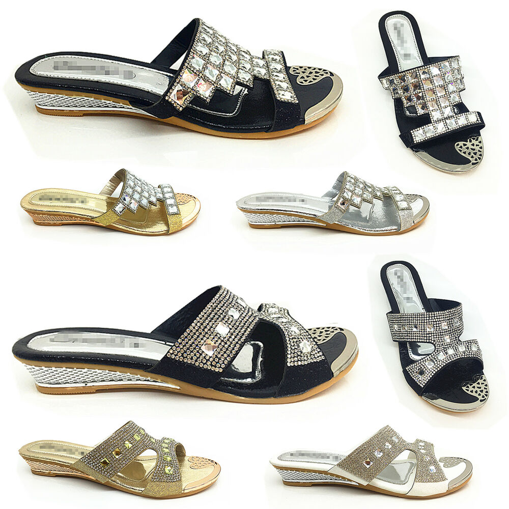 Wedge Heel Shoes For Wedding: Girls LOW WEDGE HEEL DIAMANTE BRIDAL PLATFORM WEDDING PROM