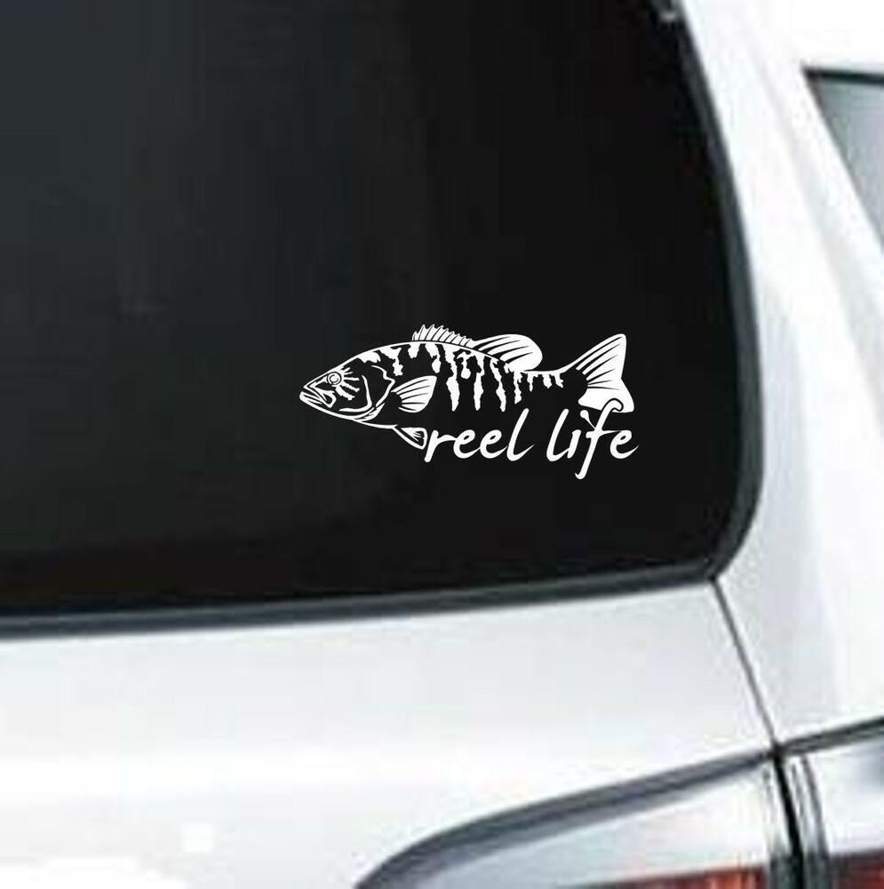B118 reel life fish fisherman bass catch and reel vinyl for Fishing vinyl decals