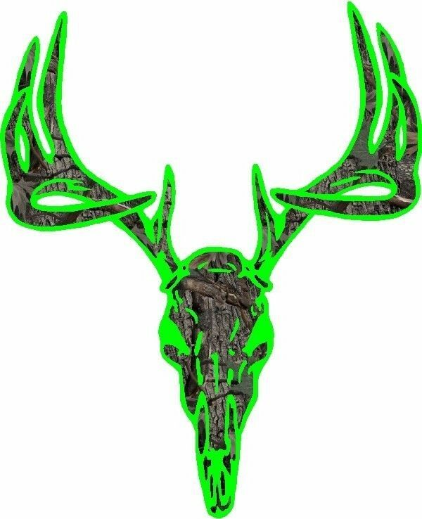 Lime Green Camouflage Deer Buck Skull Hunting Vinyl