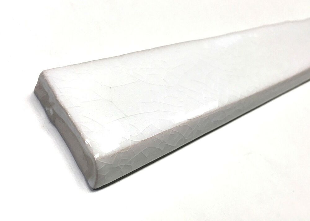 1x12 Bullnose White Crackled Ceramic Tile Walls And