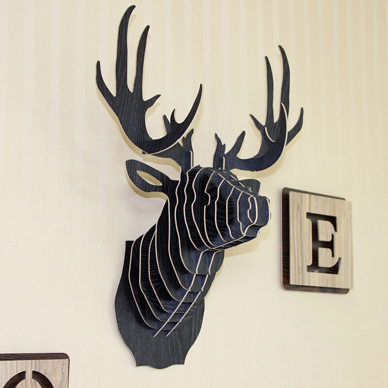Wooden Carving Deer Head DIY Wall Hanging Mount Wall Art Wooden Craft Wall Decor | eBay
