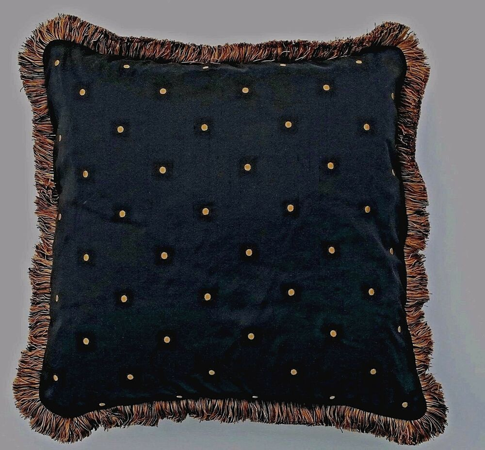 Large Black And Gold Poka Dot Silk Complete Throw Pillow