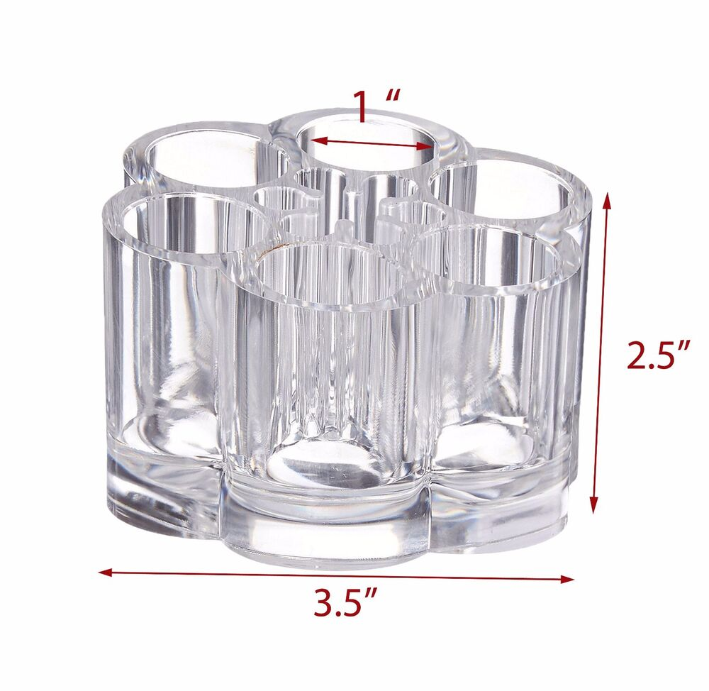 clear acrylic flower cosmetic and makeup brush holder with 12 spaces us seller ebay. Black Bedroom Furniture Sets. Home Design Ideas