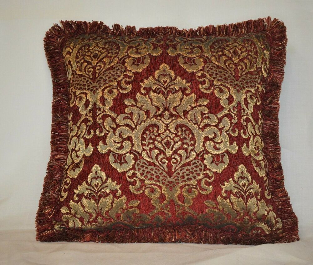 Throw Pillows Red And Gold : embroidered red and gold chenille fringe throw pillows for sofa chair or couch eBay
