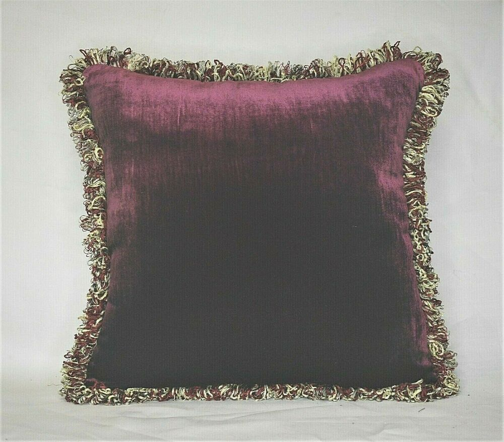 Silk Velvet Complete Decorative Throw Pillows With Fringe