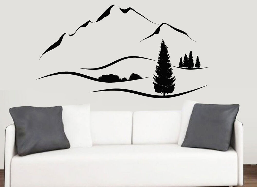 mountain range with hills trees landscape wall art vinyl stickers mural decals ebay. Black Bedroom Furniture Sets. Home Design Ideas
