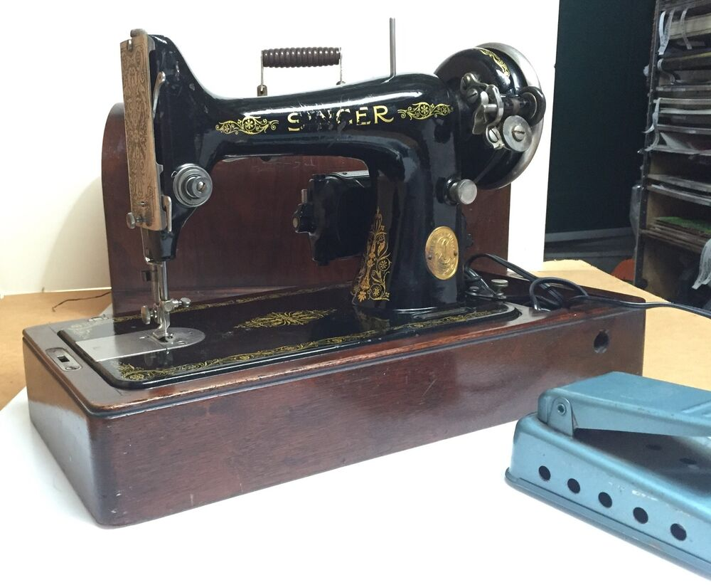 singer vintage original antique sewing machine ebay. Black Bedroom Furniture Sets. Home Design Ideas