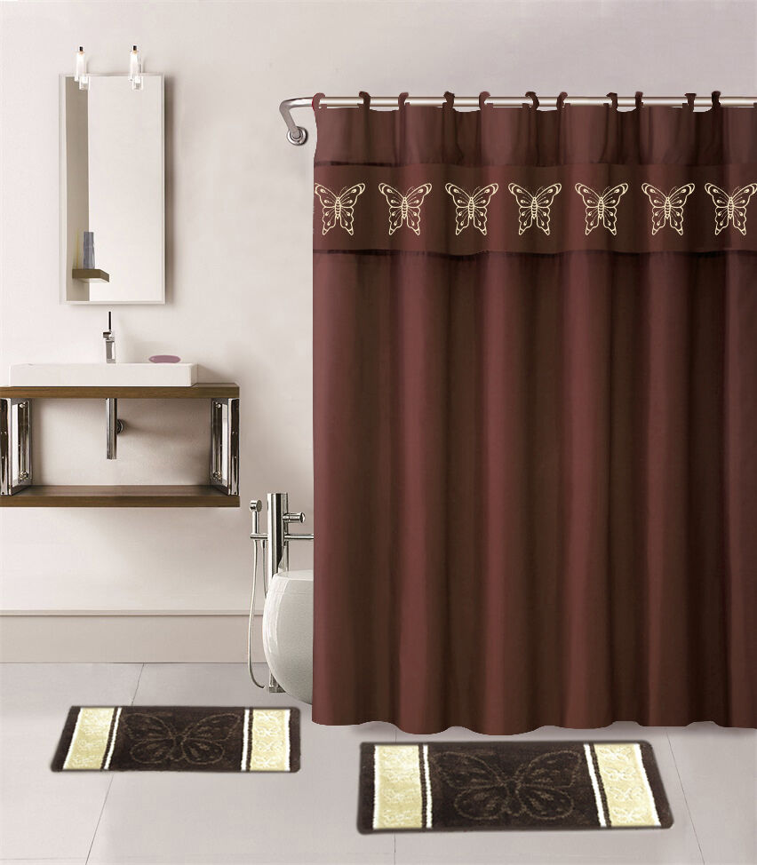 15pc brown butterfly bathroom set bath mats shower curtain for Bathroom collection sets