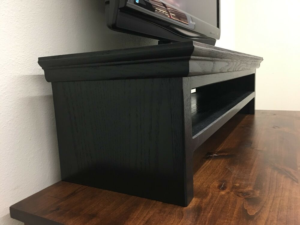 Oak tv riser laptop printer stand soundbar traditional