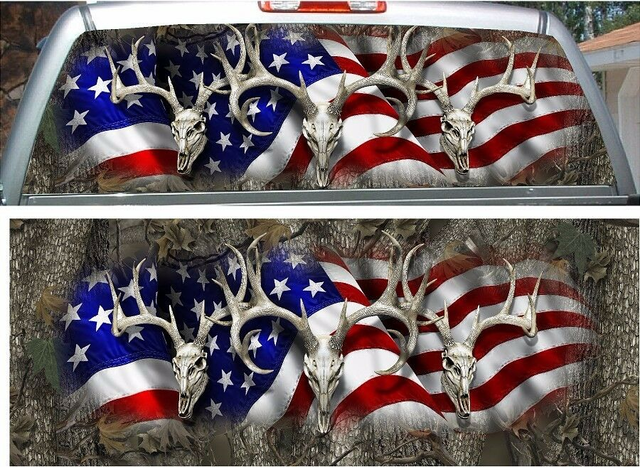 American Flag Deer Skull Camouflage Hunting Rear Window