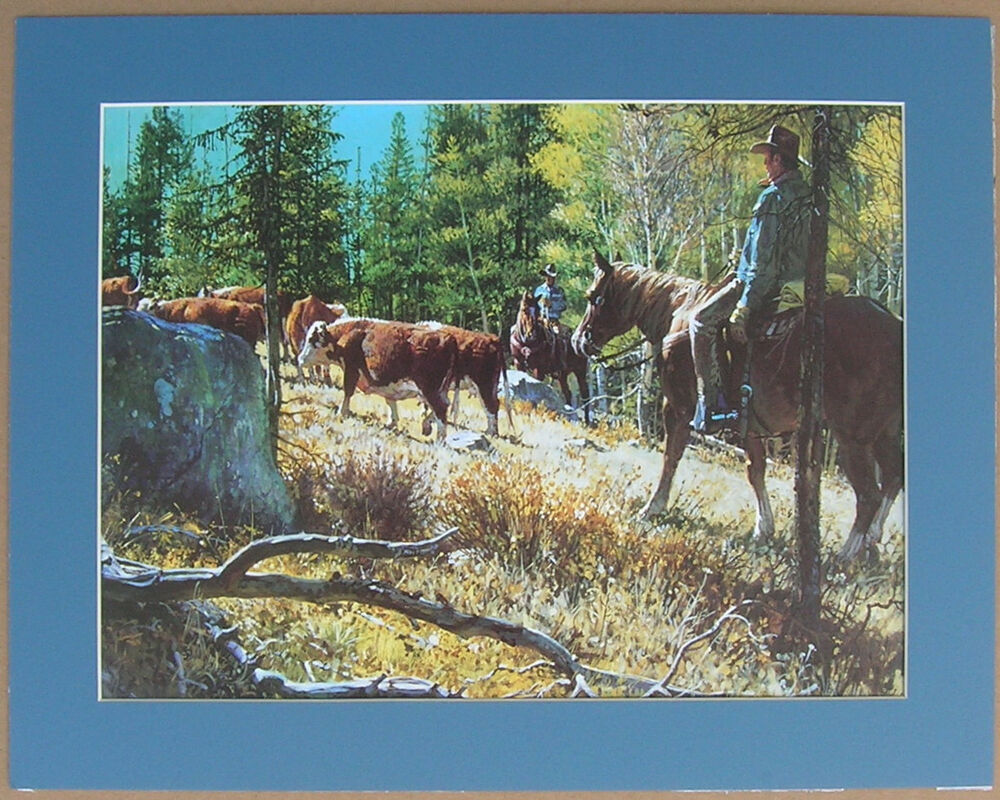 western art cowboys hereford cows country western picture