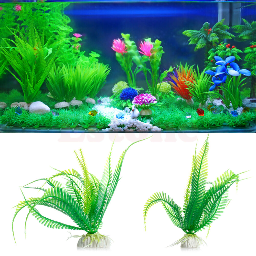 Green artificial plastic grass fish tank water plant for Green water in fish tank